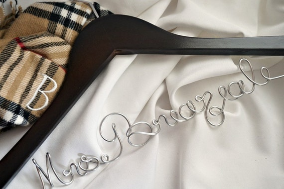 Keepsake Quality Bride Hanger With Non Tarnish, Non Rust Metal Name