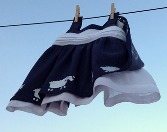 baby dress newborn up 6 months, blue dress 03 -06 months, hand printed sheeps dress, baby clothing, made in spain, outlet newborn gifts