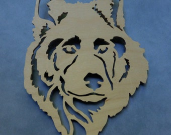 Thoughtful Husky or Wolf wood cutout