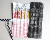 Pencil Roll Dutch Houses - Holds 12 Pencils / Crayons / Brushes / Pens / Hooks