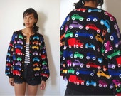 Vtg Multicolor Cars Print Black Knit Buttoned Retro Sweater