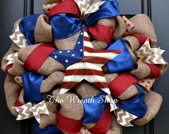 Burlap Patriotic Wreath with Star - Americana
