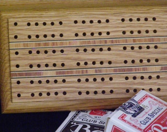 Vintage Two Street Cribbage Board Hardwood Inlaid pieces
