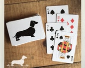 Doxie. Playing Cards -- (Dog, Dachshund, Vintage-Style, Weiner Dog, Cute, Dog Silhouette, Cards, Game Night, Party Favor, Fun Birthday Gift)