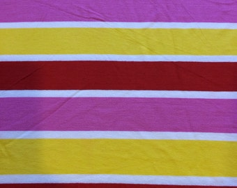 """CLEARANCE........multi horizontal stripes poly cotton lycra fabric 46"""" wide sold by the yard"""