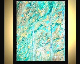 Original Large Abstract Painting Modern Acrylic Painting Oil Painting Canvas Art Turquoise Gold Brown 36x24 Textured Wall Art  J.LEIGH
