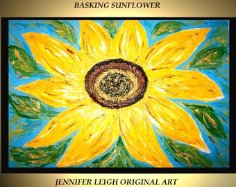 Sale ~Original Large Abstract Painting Acrylic Oil Painting Modern Canvas Art Yellow Black Blue Sun Flower 36x24 Textured  J.LEIGH