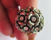 Vintage Jewelry flower Ring adjustable silver toned finish band clear rhinestones no markings