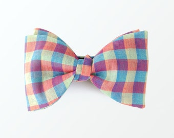 Boy's Checkered Bowtie, Multi Plaid Self Bow Tie for Junior and Gift /READY TO SHIP