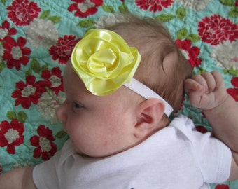 yellow ribbon rosette/rose/flower infant headband