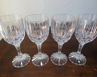 Vintage Set of 4 Cristal d Arques Bretagne Wine Glasses France Lead Crystal