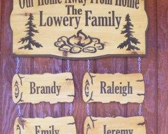 Camping sign with Family Names  SquaredOval - Custom Carved