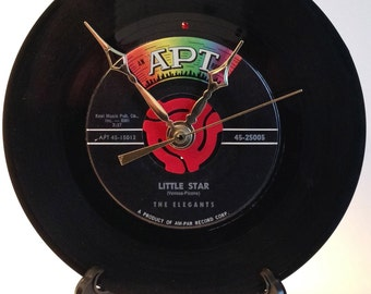 "Recycled THE ELEGANTS 7"" Record / Little Star / Record Clock"