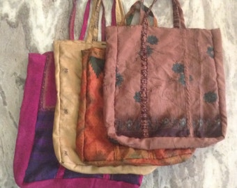 Recycled Repurposed Sari Shopping Bags Reusable Grocery Totes Set of Four (4) BAG004