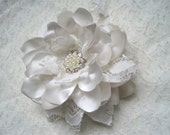 Gorgeous Light Ivory Satin with Vintage Lace Bridal Flower Hair Clip with Gorgeous Pearl and Rhinestone Brooch Accent