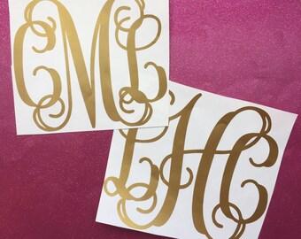 Gold Monogram Vinyl Decal Metallic Personalized Custom Sticker