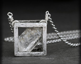 RAW HERKIMER DIAMOND - Floating Cube Pendant, Distressed Vintage Silver Cube Extra Long Stainless Chain