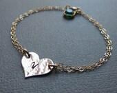 Personalized Heart Bracelet & Birthstone,Gold Heart Bracelet,Gift Idea for Bridesmaids, Bridesmaid Bracelet, Bridesmaid Jewelry, Weddings