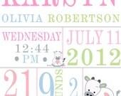 CUstom Nursery print cow theme birth announcement baby status print