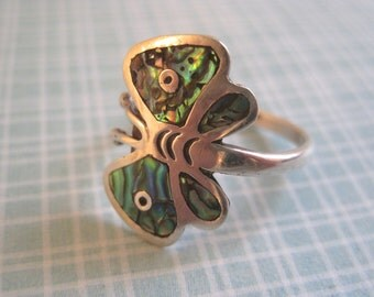 Sterling Silver Ring Abalone Ring, Adjustable Ring, Mexican Ring, Butterfly Ring, Southwest Ring, Mosaic Ring