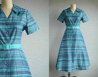 Vintage 1950s Dress / 50s Ombre Chevron Stripe Print Cotton Housedress with Rhinestone Buttons Belt