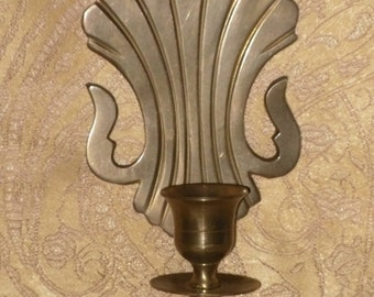 Brass Wall Sconce Candle Holder Single Taper Deco Style