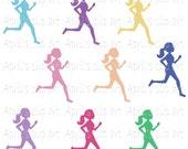 Running Girl Silhouette  Clip Art Set, Digital Clipart, scrapbooking, Runner, Run, Workout, Exercise, Jogging