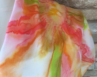 Hand Painted Silk Scarf, made in Montreal, ready to ship