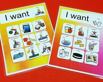Autism Choice Board - I Want PECS Board - Velcro 20 PECS Symbols Therapy ABA Speech Delay - Daily Picture Schedule