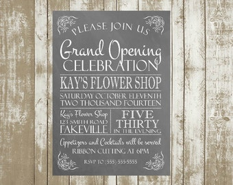 Printable Customized Grand Opening or Open House Invitations, 5x7, Typography