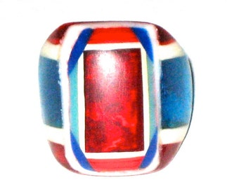 Bob Dodd vintage 30s 40s bakelite celluloid folk art prison ring red white and blue