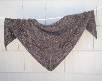 Knitted Shawl Wrap, Hand Knit, Dark Brown, Prayer Shawl with Eyelets, Large Size Wrap, Super Soft Acrylic Wool
