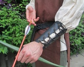 Leather Archery Arm Guard, Lace Up - Medieval Renaissance Leather Bracer