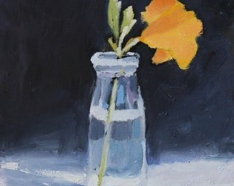 Day lily Floral Still Life painting, Oil on wood panel, 8x8 inch Canadian Art Flower Wall decor
