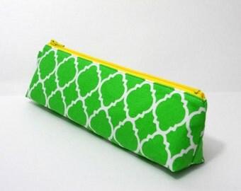 SALE- Slim Pencil Case, Green Lattice, Purse Organizer, One of a Kind