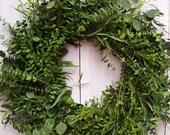 Christmas Wreath-Christmas Front Door Wreath-Rustic Christmas Wreath-Front Door Wreath-Winter Wreath-FRESH PRESERVED Eucalyptus Door Wreath