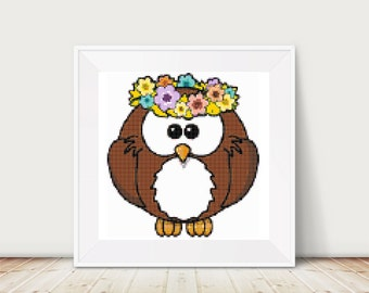 Hippy Owl Cross Stitch Pattern, PDF, DMC threads