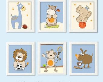 Art for the nursery, baby boy nursery art, sports nursery decor, safari animals sports wall art, posters for baby room, football soccer golf