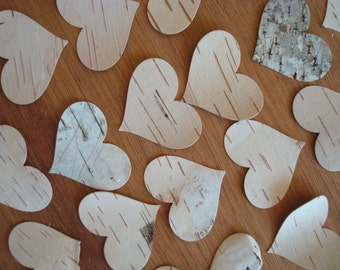 Hearts 'a flutter (60) large BIRCH CONFETTI all NATURAL hand punched fresh white birch bark hearts free shipping