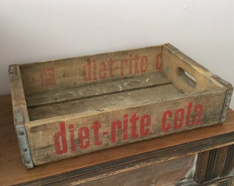 Vintage Wood Soda Crate Diet Rite Cola Crate Wood Box