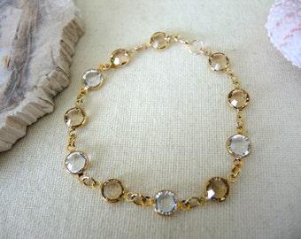 Swarovski Bracelet, Swarovski Crystal Clear & Gold Bracelet, 14K Gold Filled Bezel Bracelet, Swarovski Jewelry Gifts For Her, Valentine Gift