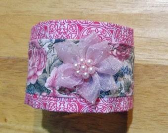 Fabric Cuff Bracelet - cotton floral print