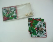 Christmas Holiday Napkin Drink Napkin Pinecones Holly Berries