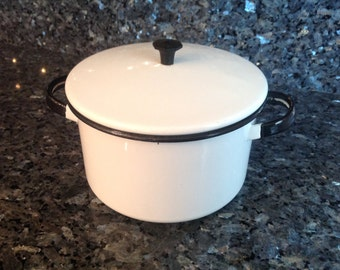 Vintage Enamel White and Black Pot and Lid WONDERFUL CONDITION
