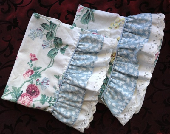 White Shabby Chic Pillow Cases : Set of 2 Vintage Pillow Cases Bedding Shabby Chic Cottage