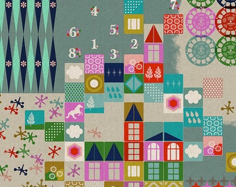Playroom in Aqua - Cotton/Linen Canvas - Playful - Melody Miller - Cotton + Steel - 1 Yard