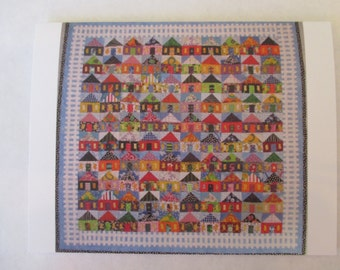100 Houses quilt note card (folded)