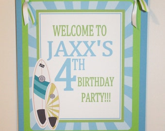 SURF'S UP Happy Birthday or Baby Shower Door or Welcome Sign Blue Green - Party Packs Available