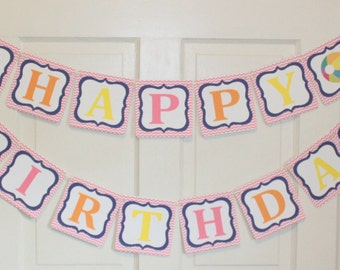 GIRLY PREPPY BEACH Happy Birthday Party or Baby Shower Banner - Party Packs Available