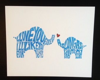 """AS-IS Mama and Baby Elephant Handwritten Word Art - 8x10"""""""